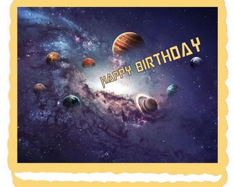 Outer Space Solar System Planet Edible Cake Topper