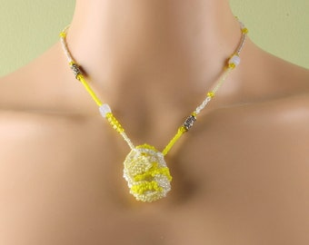 Yellow and white Beadwork Freeform Peyote Stitch Pendant Necklace Seed Beads