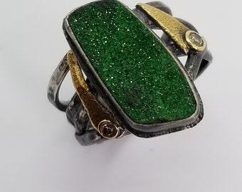 Uvarovite Garnet Druzy ring with Diamonds