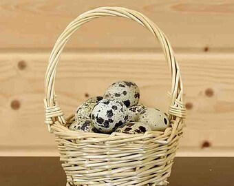 """18 Real Quail Eggs in 4"""" Wide Woven Basket"""