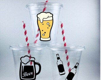 BEER PARTY CUPS Adult Birthday Disposable Cup Set Personalized Customized
