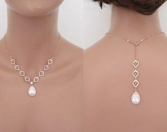 Rose Gold Backdrop necklace, Crystal Wedding necklace, Wedding jewelry, Rose Gold necklace, Simple back drop necklace, Teardrop necklace