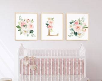 Nursery Art Girl Watercolor Floral Blush Elegant Nursery Art Nursery Wall Art Set Girl Nursery Decor Pink Though She Be 16x20 Large Floral