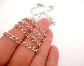Silver Tone of 3 mm Extender Chain _ NAC5102566547/3325_ Jewelry Supplies_ Silver Extender of 3 mm thickness_ long 45 mm _ pack 30 pcs