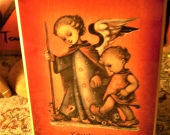 "1974 Hummel CHRISTMAS MUSIC BOX Jewelry Trinket Box ""Adeste Fideles"" Musicworks Needs Attention Beautiful Graphics Angel & Child Wood"