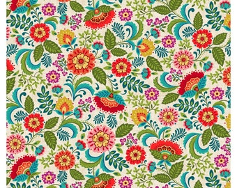 Colorful Floral Fabric, Studio E 3443 01, Pieceful Gathering, Teal, Orange, Pink, Turquoise, Purple, Green Flowers, Quilting Cotton