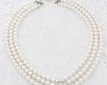Pearl Statement Wedding Necklace, Art Deco Wedding Necklace, Bridal Statement Necklace Pearls, Swarovski Bridal Necklace, Gold or Silver