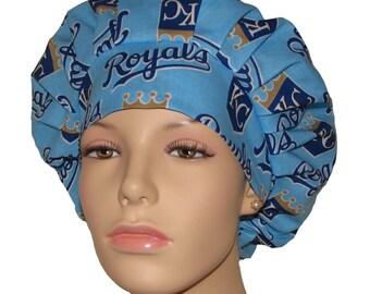 Scrub Hats For Women-Kansas City Royals Fabric-Bouffant Scrub Hats-ScrubHeads-Scrub Cap-Surgical Scrub Hat-Royals Scrub Hat-Kansas Scrub Hat