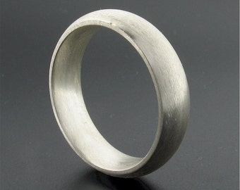 Wedding ring, silver court 6mm wedding band, full brushed finish for a man or a woman, UK hallmarked.