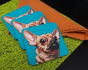Funny Chihuahua Coasters, Pop Art Dog Coasters, Gift for Chihuahua Lovers, Colorful Chihuahua Gifts for the Home