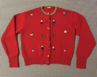 1960's, red, wool, folksy, Christmas sweater, Women's size Small