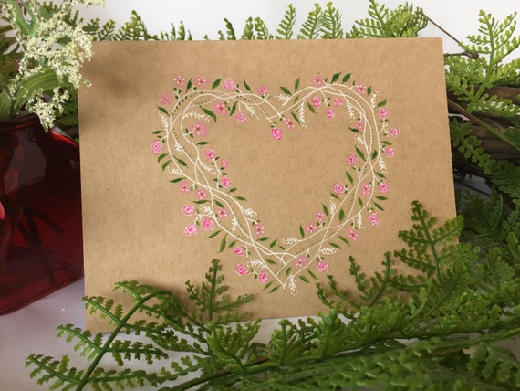 Handpainted floral heart wreath Valentine's Day card