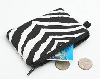 Coin Purse, Zipper Change Bag, Small Padded Zippered Phone Pouch, Card Holder Wallet - Black and white zebra