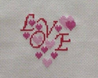 Handmade Completed Finished Embroidery Heart Love Cross Stitch