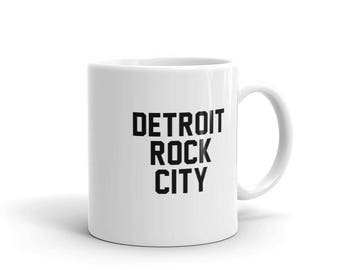 DETROIT ROCK CITY. Mugs with Sayings. Funny Coffee Mug. Detroit Maps. Motor City. Detroit Lions