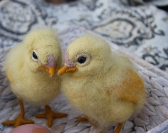 Needle Felted Chick, Waldorf, Yellow Easter Chick, needle felted bird