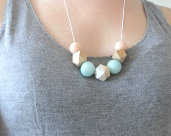 Pink and pastel blue necklace