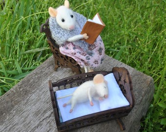 Mom and baby mouse felted miniature Mice doll needle felted mice needle felt family mice fairy animal miniature animals wool stuffed animal