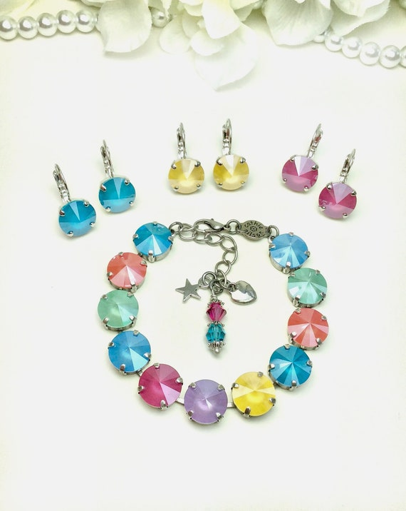Swarovski Crystal 12MM Bracelet & Earrings Designer Inspired - Summer Shades of Blue, Peony, Lilac, Yellow, Mint, Lt. Coral - FREE SHIPPING