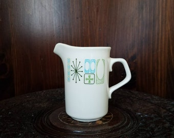 Vintage Taylor Smith and Taylor Taylorstone Cathay Green Atomic Starburst Creamer