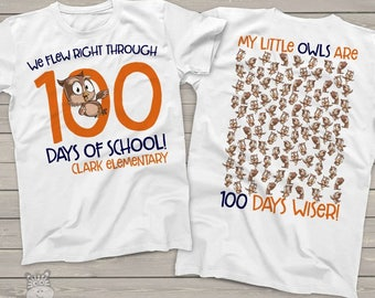 Teacher shirt - 100 days of school - owl hundred day crew neck or vneck shirt  mscl-118