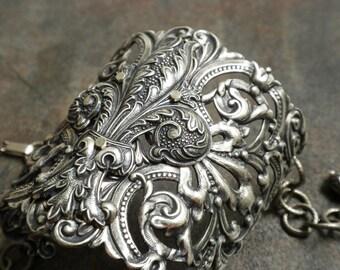 Statement Cuff Wide Silver Bracelet Fleur de Lis Jewelry