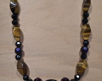 faceted tiger eye necklace and earrings