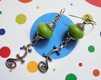Light Green Lizard Earrings (2486)