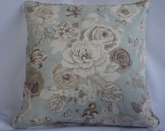 Vintage, floral, shabby chic aqua cushion cover, 18inches square