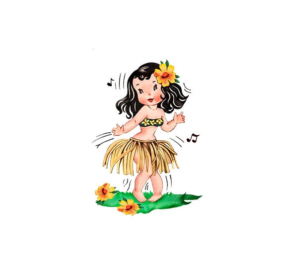 hula girl clipart vintage valentines day card hawaii rh etsy com hula hoop girl clipart hula girl clipart black and white