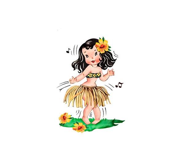 hula girl clipart vintage valentines day card hawaii rh etsy com hula hoop girl clipart cute hula girl clipart