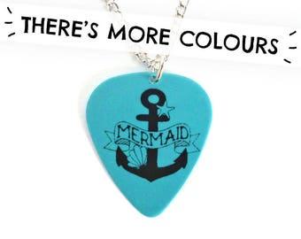 Mermaid - Guitar Plectrum - Nautical Plec - Quirky Anchor Necklace