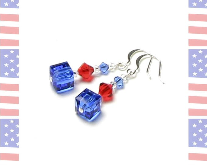 4th of July Swarovski Crystal Silver Earrings in Red Clear Blue Summer Outdoors Patriotic Jewelry for Women American Flag Color Military Mom