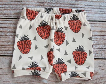 organic, baby shorts, girl shorts, toddler shorts, strawberry shorts, strawberry, strawberry leggings, bloomer, girl bloomers, red, baby