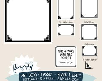 11 x art deco clipart template invite background black and