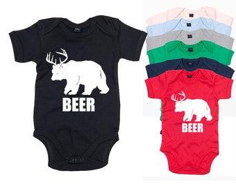 Beer Bear Deer Baby Bodysuit