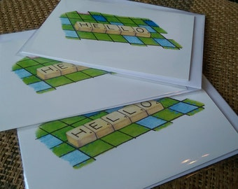 Hello (3 x greetings cards)