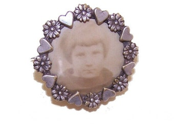 Antique Edwardian, French, Silver, Plate, Picture, Photo, Souvenir, Pin, Hearts, Flowers, Valentines, Mothers, Day, Gift, For Her, Vintage