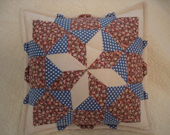 Quilt Pillow--14 by 14--OOAK--Ready To Ship--Free Shipping