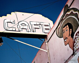 Joe & Aggie's Cafe - Mexican Restaurant Sign Photograph