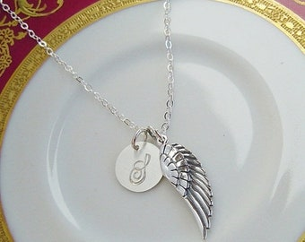 ON SALE Personalized Angels Wing Necklace, Sterling Silver, Initial Charm, Memorial Keepsake Jewelry, Bridesmaids, Mothers, Gift