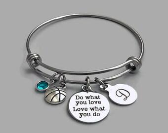 Basketball Charm Bracelet, Basketball Bracelet, Basketball Bangle, Do What You Love, Basketball Coach, Basketball Team, Basketball Gift