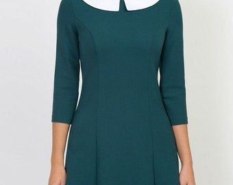 Turquoise dress Peter Pan collar Classic jersey dress for woman Autumn dress Spring dress clothing for women Party dress Occasion dress