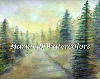 Watercolor Forest/ Nature/ Tree Art Print 8 x 10 in