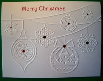 Set of 10 Embossed Ornaments Cards