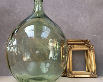 The Biggest! Extra Large Vintage French Light Moss Green Clear Glass with Very Light Green Tint Glass Carboy or bottle. Demijohn demi john