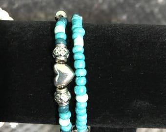 Handmade Teal Heart Bracelet