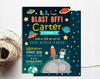 Outer Space Birthday Invitation, Space Birthday Invitation, Mission Space Party Invite, Rocket Ship Birthday Invitation, Boy Birthday