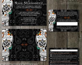 Skull Wedding Invitation Halloween Wedding Set Gothic Wedding Offbeat Day of the Dead Dia De Los Muertos Printable Invitation Sugar Skull