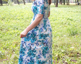 Floral maxi dress, blue maxi dress, maxi dress, blue floral dress, summer maxi dress, evening dress, bridesmaid dress, V neck dress, spring
